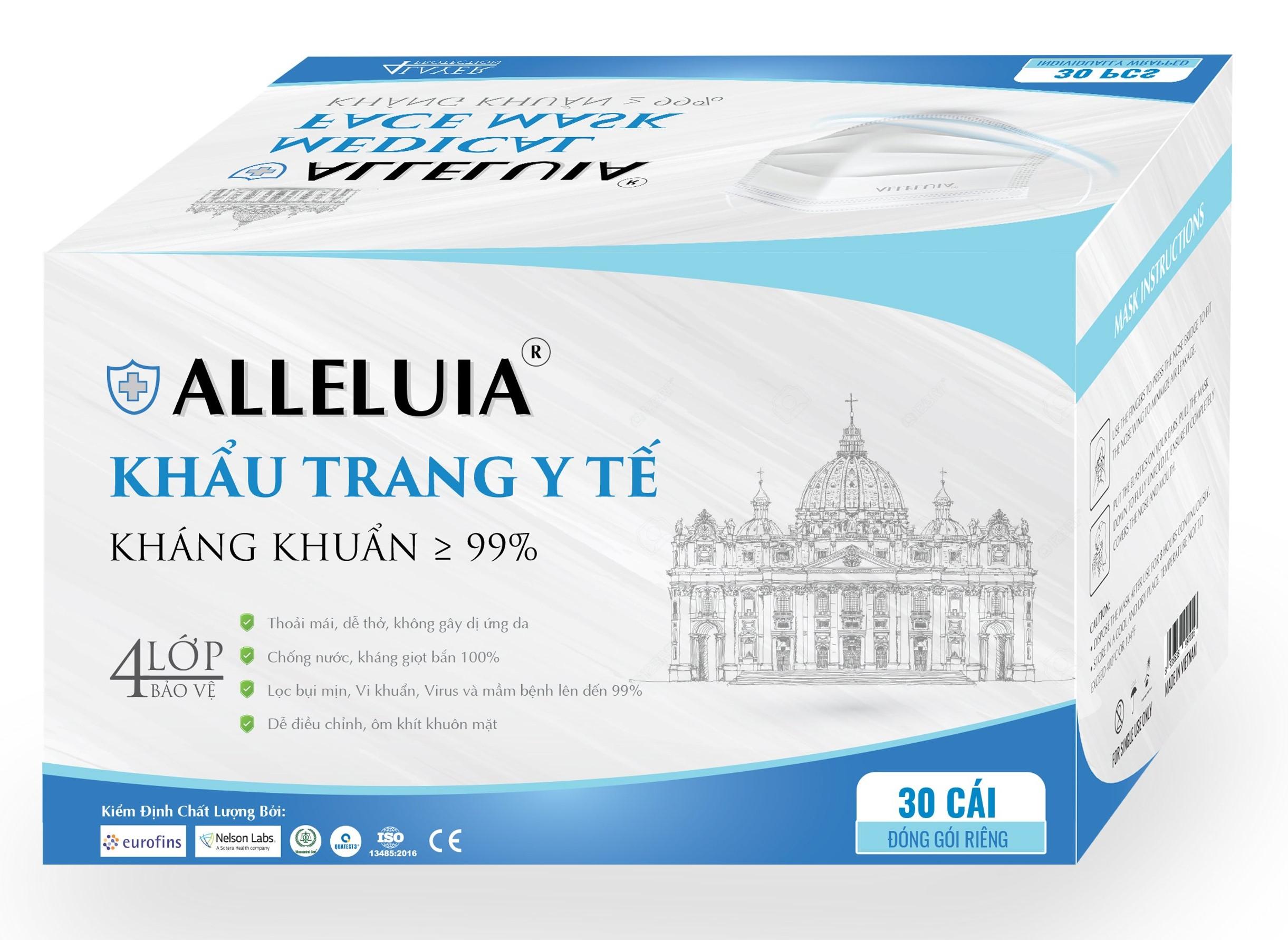 Hộp nhãn xanh khẩu treang Alleluia